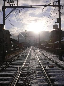 鉄路の残雪の写真