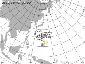 台風23号/位置図(気象庁提供)
