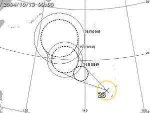 台風23号/位置拡大図(気象庁提供)